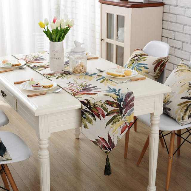 New American Country Table Runner Floral Plant Leaf Dust Proof Table Covers  For Home Party Wedding