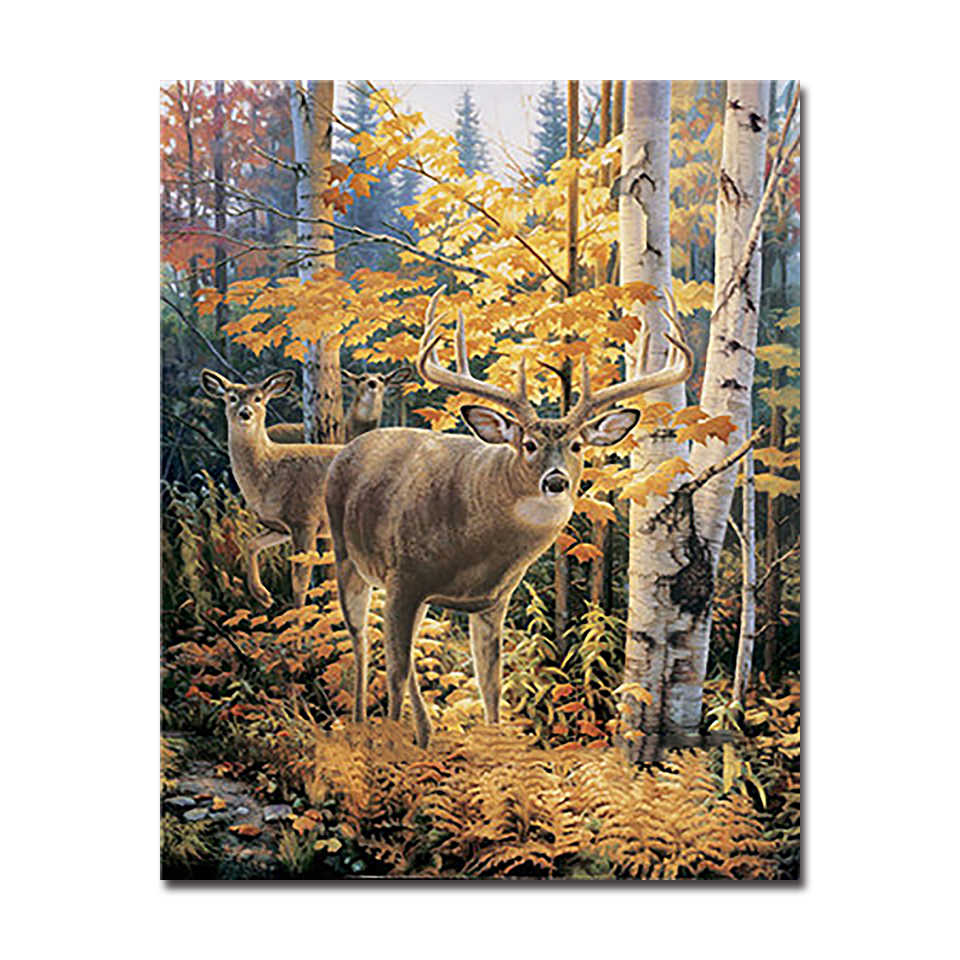 DIY Digital Oil Painting By Numbers Autumn Forest Deers Canvas Pictures For Living Room Acrylic Coloring Elk Drawing Wall Decor