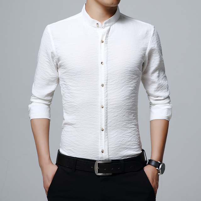bea02b34a278 Men Dress Shirt 2019 Spring New Brand Shirt Wrinkle Design Casual Slim  Simple Solid Men s Long Sleeve Fashion Business Shirts
