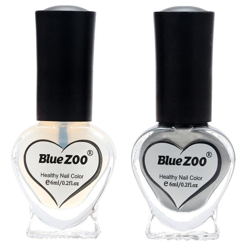 Синий зоопарк Новое поступление 2017 2 шт. 6 мл/0.2 г серебро металла зеркальный эффект Дизайн ногтей Польский Лаки и Основа для ногтей DIY