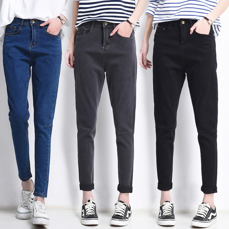 цены 2017 Vintage BF STYLE Fit High Waist Jeans Elastic Femme Women Washed Blue Denim Skinny Jeans Classic Pencil Trousers Pants