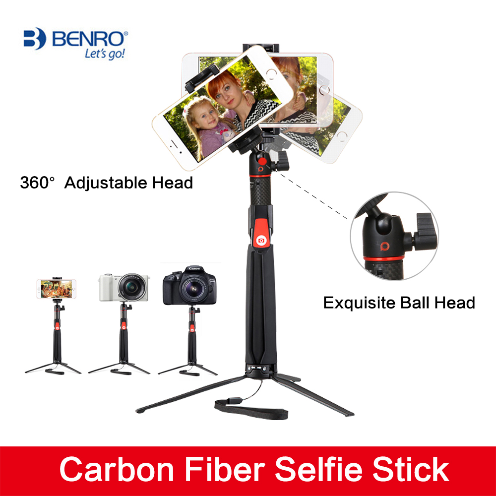 Benro SC1 carbon fiber Smartphone Selfie Stick Handheld mini Phone Gopro Action camera Tripod wireless Bluetooth Remote Shutter