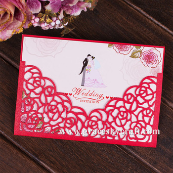 New free shipping 50pcs/lot laser cut flower rose design party wedding invitations cards with inner blank paper