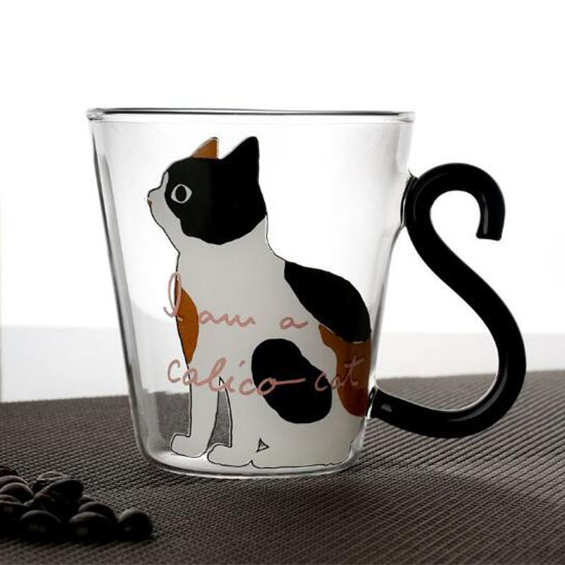 Cute Creative Cat Kitty Glass Mug Cup Tea Cup Milk Coffee Cup Cartoon Kitten /Little black cat Home Office Cup Fruit Juice
