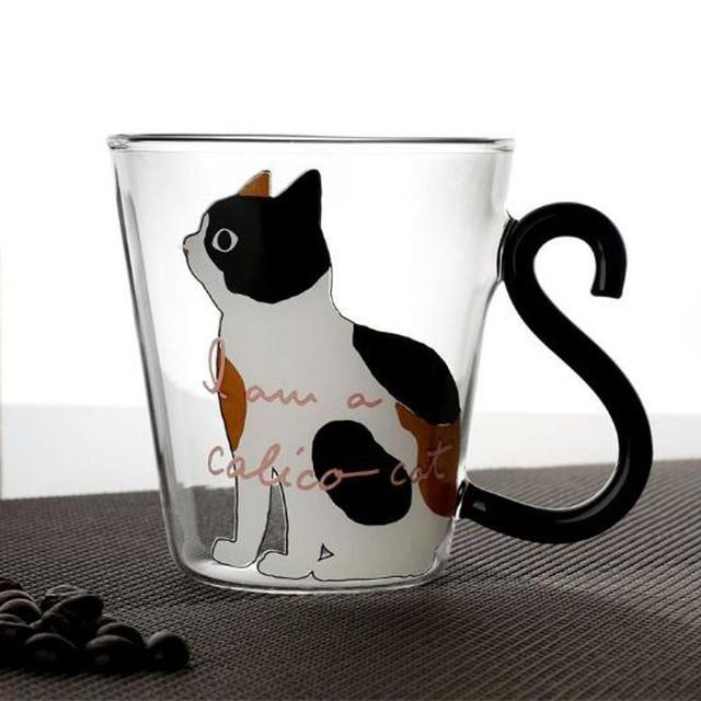 Cute Creative Cat Kitty Glass Mug Cup Tea Cup Milk Coffee Cup Cartoon Kitten /Little black cat Home Office Cup Fruit Juice