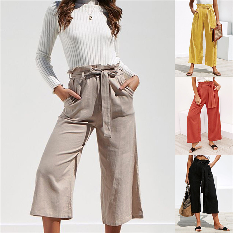 Women Boho Wide Leg   Pants   Fashion High Waist Flared Trousers Solid Cotton Bell Bottom Sashes   Pants     Capris   Streetwear   Pants