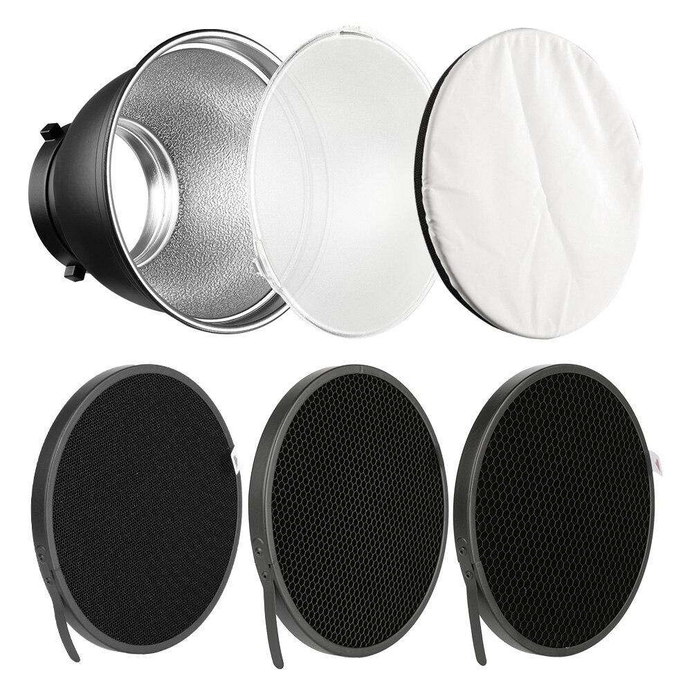 7 ''Standard Reflektor Diffusor Lampe Schatten Schüssel + 10 20 30 40 50 grad Honeycomb Grid für Bowens Berg studio Flash Speedlite