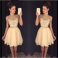 Exquisite Handmade Beading vestido de festa curto Scalloped Neck Cap Sleeves Chiffon Cocktail Dress Party Gowns Prom dress gowns