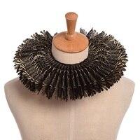 Black Gold Ruffled Collar Retro Victorian Steampunk Lace Neck Ruff For Renaissance Costume Accessory