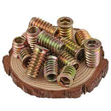 Rosca de acero al carbono M46 M8 M10 para inserción de madera, Tuercas de cabeza hexagonal con brida para muebles, 10/5 Uds.