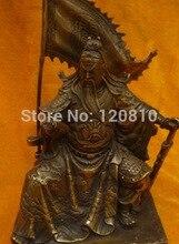 Dinastía Ming muy raras (xuan de1426-1438) estatua de cobre, Guan Gong caballo tigre