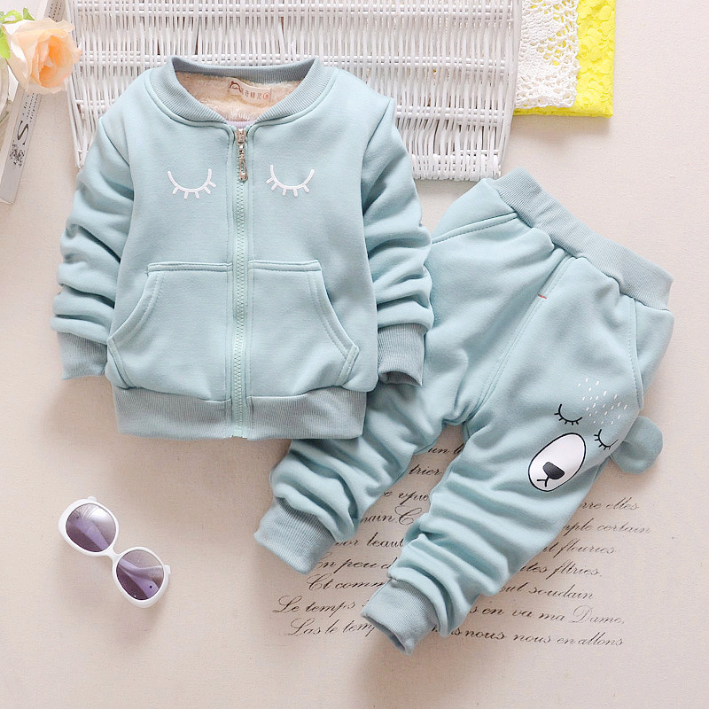 0-3T Children Sweater Baby Girls & Boys Clothing Set Thick Warm Sport Suit Kids Winter Long Sleeved Coat +Pants Kids Clothes Set цена
