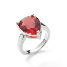 Red Water Drop Silver Rings Factory Price Large Cz Crystal Luxury Engagement Wedding For Women Jewelry Gift
