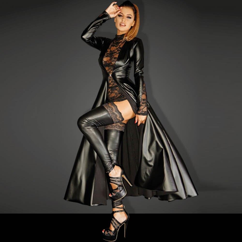 Wetlook Faux Leather Matrix Trench Long Dress Leather Dress Punk Asymmetrical Dress Black Vinyl Long Dovetail Cloak Clubwear