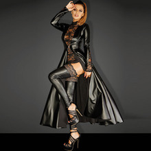 Wetlook Faux Leather Matrix Trench Long Dress Punk Asymmetrical Black Vinyl Dovetail Cloak Clubwear