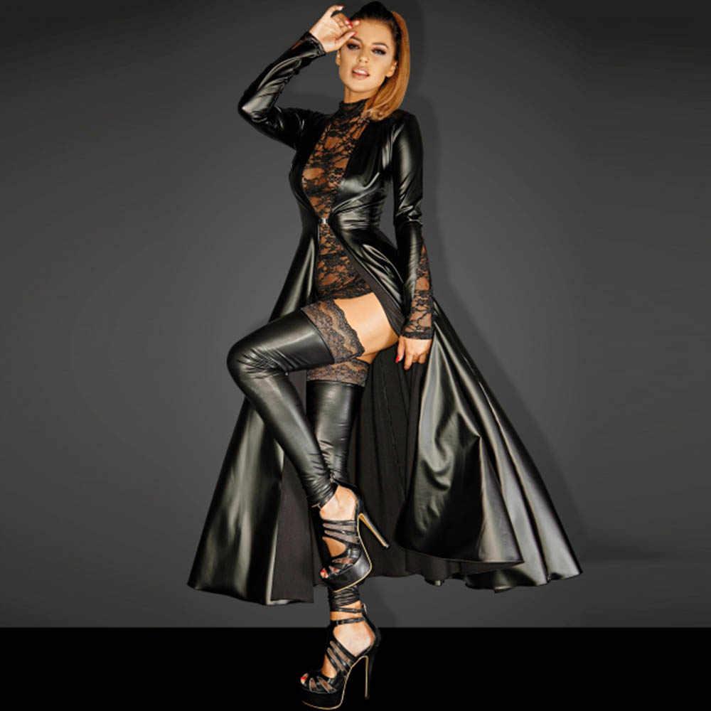 Wetlook หนัง Faux Matrix Trench ยาวหนัง Punk ชุดอสมมาตรสีดำไวนิลยาว Dovetail เสื้อคลุม Clubwear