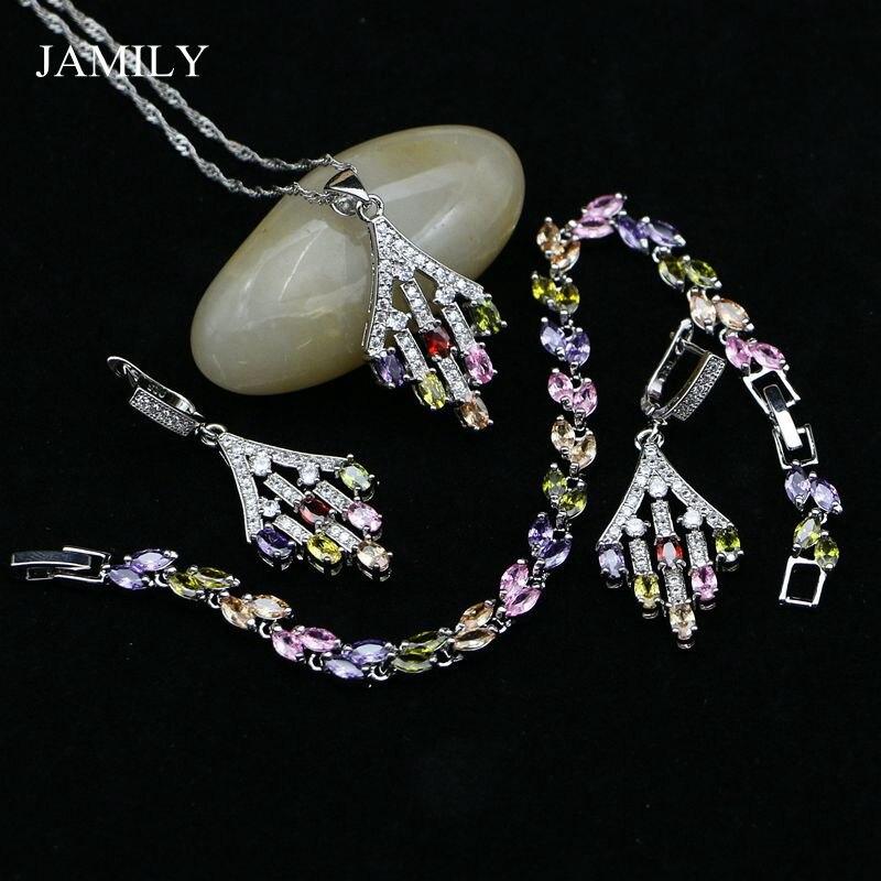 JAMILY Silver 925 Jewelry Sets Multicolor Stones Zircon For Women Party Charm Bracelet Pendant Long Earrings Necklace Set