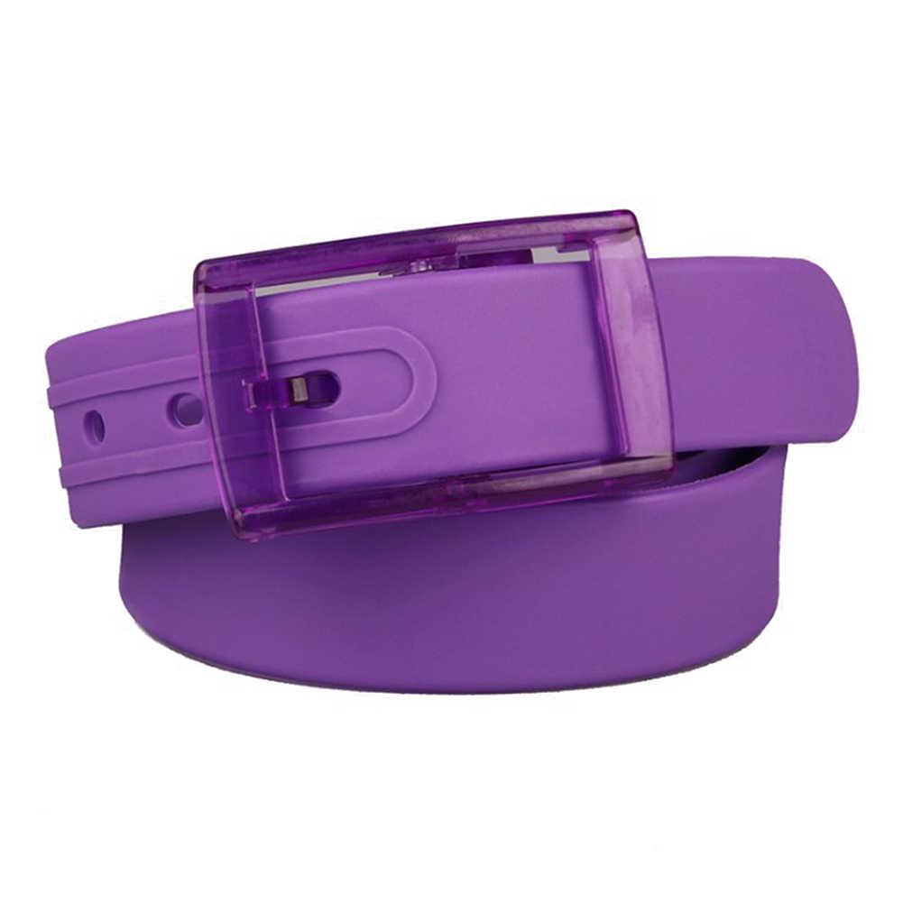 Balck roxo Eco Plástico Cinto de Fivela Lisa Cinto De Borracha de Silicone Unisex Para Mulheres Dos Homens Da Cintura Cinta Pin Fivela Harajuku