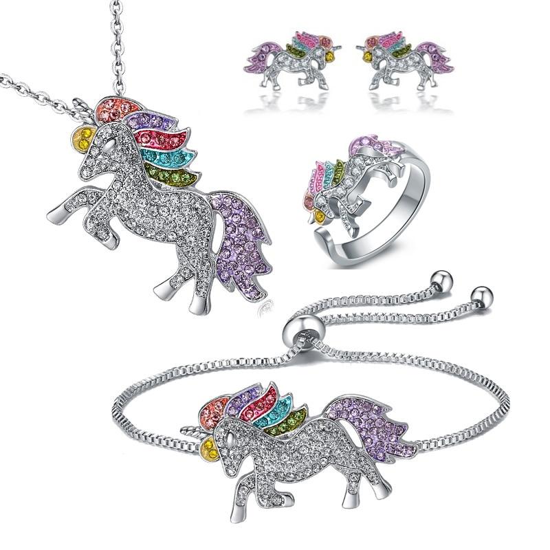 Luxury Crystal Unicorn Jewelry Set Cute Rainbow Horse Silver Gold Neck