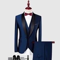 New Arrival Customized Shawl Black Lapel Groom Tuxedos Wedding Best Man Blazer 3 Pieces (Jacket+Pants+Vest) Royal Blue Men Suit