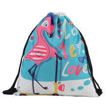 3D Printing Schoolbags Unicorn Pattern Women Drawstring Bag Mens Backpacks