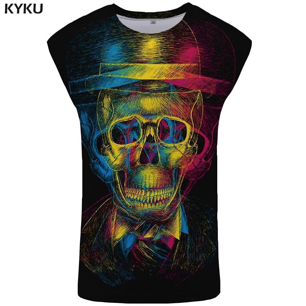 KYKU Brand Skull Tank Top Men Graffiti Mens Bodybuilding Colorful Vest Black Undershirt Psychedelic Ftness Clothing