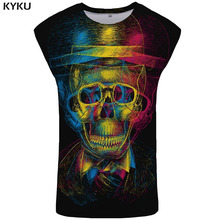KYKU Brand Skull Tank Top Men Graffiti Mens Bodybuilding Colorful Vest Black Undershirt Psychedelic Ftness Clothing
