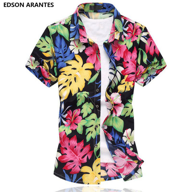 4d8c4966e177 EDSON ARANTES Holiday Hawaiian Shirt Men 2018 Summer Short Sleeve Floral Shirt  Plus Size 6XL 7XL Casual Slim fit Camisa hombre