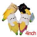 Birthday Toy Gift 4pcs/set Anime Banana Cat Stuffed Toys 4inch Stuffed Animals Cartoon Cat Model Plush Dolls Decorations