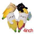 De Juguete de Regalo de cumpleaños 4 unids/set Anime Plátano Gato Juguetes de Peluche de 4 pulgadas Modelo de Gato Muñecos de Peluche Animales de Peluche de Dibujos Animados Decoraciones