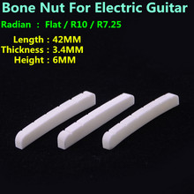 1 Piece GuitarFamily Real Slotted Bone Nut For  Electric Guitar  ( Bottom  Flat / R7.25 / R10   42MM*3.4MM*6MM )