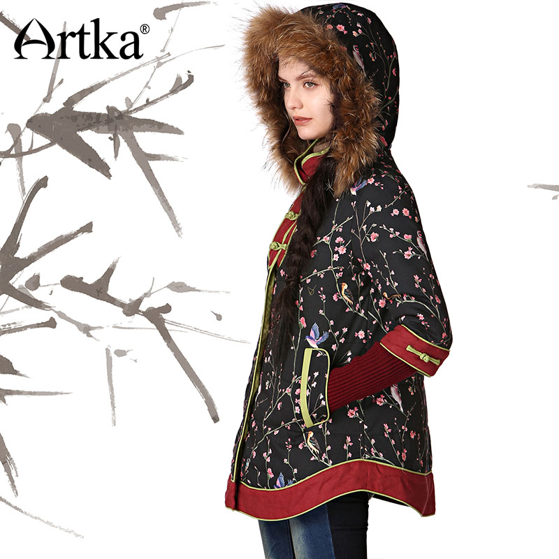 ARTKA Autumn Women's Jacket 2018 Winter Parka With Hood Ethnic Warm Outerwear Female Fur Parka Thick Cloak Jacket Coat MA11343D