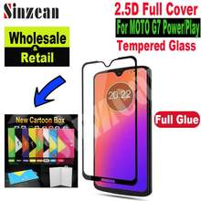 Sinzean 100pcs Full Cover Tempered Glass For MOTO G7 Power 2.5D Full Glue Screen Protector For MOTO G7 Play in new cartoon box