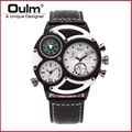 oulm factory 3594-1 Male Quartz Leather Band Wristwatch Round shape two dials PC21S movt watch