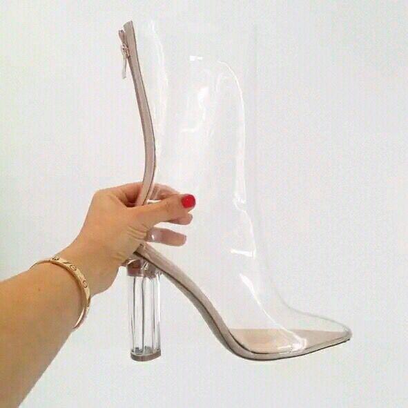2017 12 Transparentes Pantorrilla Sandalias Us Mujer Clear Talla Nuevo Altos Media Cristal Verano Para Botas Tacón Zapatos Cuadrado Tacones De Grande Unn6dS0q