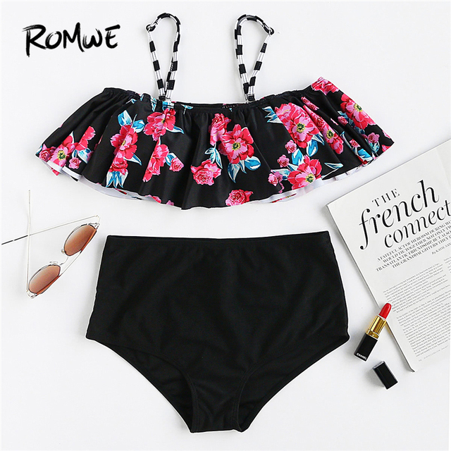 932b3e2f61 Romwe Sport Calico Print Flounce Design High Waist Bikini Set Women Chest  Pad Sexy Swimwear 2018