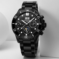 Wielofunkcyjne zegarki sportowe mężczyźni karnawał duża tarcza mechaniczne zegarki mężczyźni kalendarz faza księżyca Luminous Swim Sapphire Montre homme