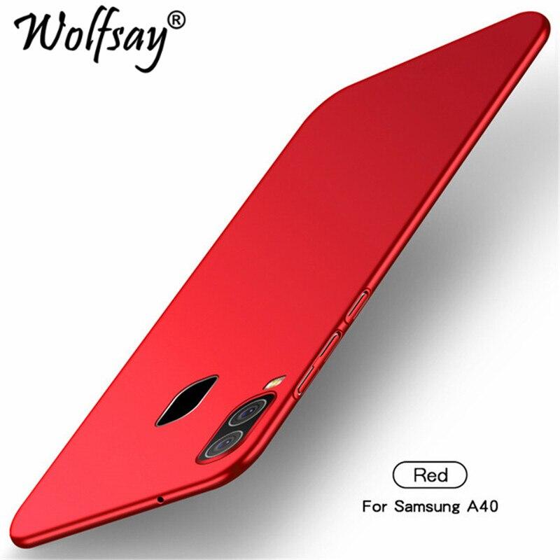 Чехол для samsung Galaxy A40, ультра тонкий чехол из поликарбоната, Твердый чехол для телефона, для samsung A40 A 40 A405F, чехол для телефона Wolfsay - Цвет: Red