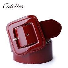 Catelles Wide Women's Belt Red Female Genuine leather