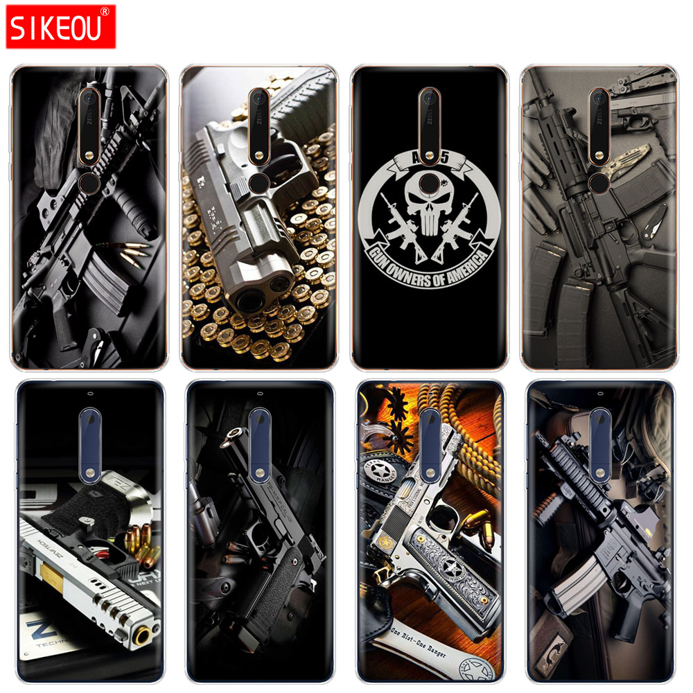 Fitted Cases Imported From Abroad Silicone Cover Phone Case For Nokia 5 3 6 7 Plus 8 9 /nokia 6.1 5.1 3.1 2.1 6 2018 Weapons Rifle Guns Sniper Pistol Bullet Cellphones & Telecommunications