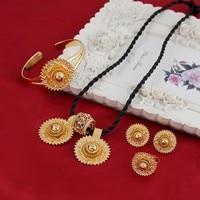 NEW Ethiopian National Crystal Jewelry Set Necklace Earrings Bangle Ring Set Gold Plated Habesha Jewelry