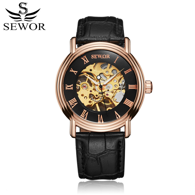 SEWOR Mechanical Hand Wind Watch for Men Leather Skeleton Male Watches Luxury Classic Mens Watch With Box SWQ53 fashion men mechanical hand wind watches men skeleton stainless steel wristwatches for male luxury golden watch men