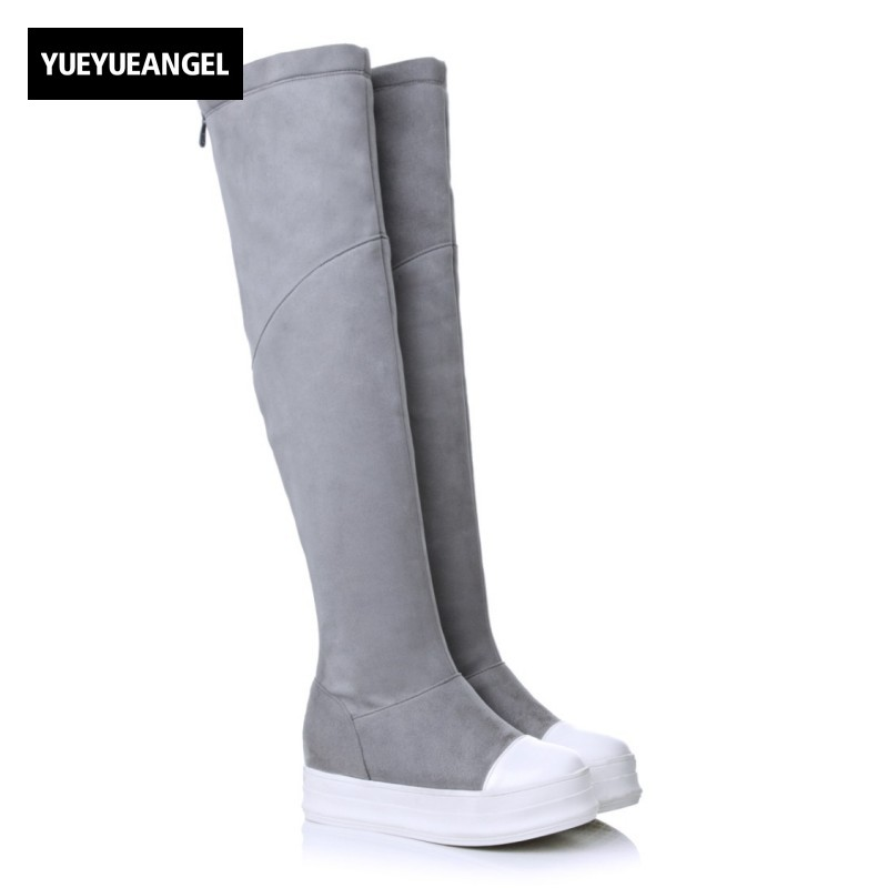 Hot Sale Women Snow Boots Flock Round Toe For Women Comfortable Over The Knee Boots Zipper Platform Girl Sweet Shoes Gray Black