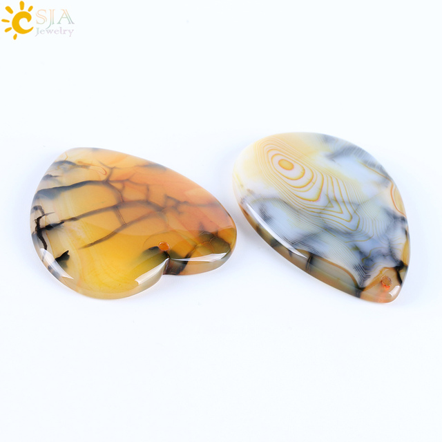 CSJA Raw Dragon Veins Pendants For Necklace Natural Gem Stone Bead Yellow Black Cabochon Heart Onyx