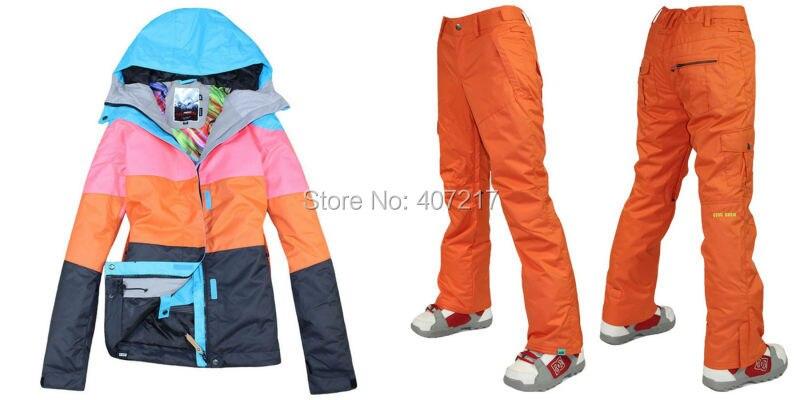 Prix pour 2015 femmes loisirs mesdames combinaison de ski snowboard costume de sport vêtements de ski orange ski veste et orange pantalon de ski imperméable 10 K