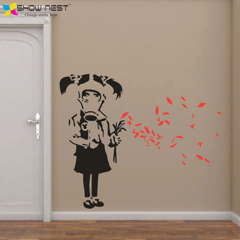 Modern Art Banksy Gas Mask Girl Wall Decal Banksy Style Wall - Wall decals 2016