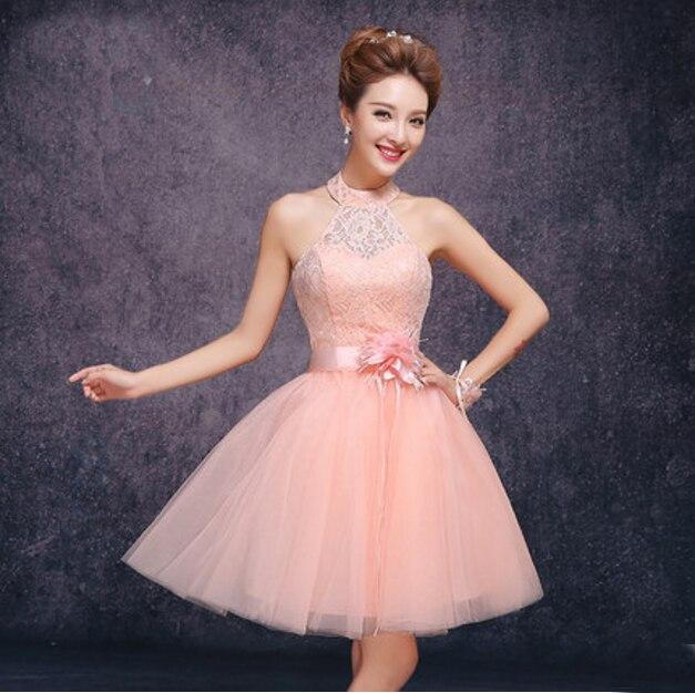 Short Peach Elegant Fashion Halter Embellished Sleeveless Corset