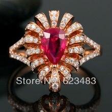 Твердое розовое золото 14kt натуральный розовый турмалин бриллиантовое кольцо
