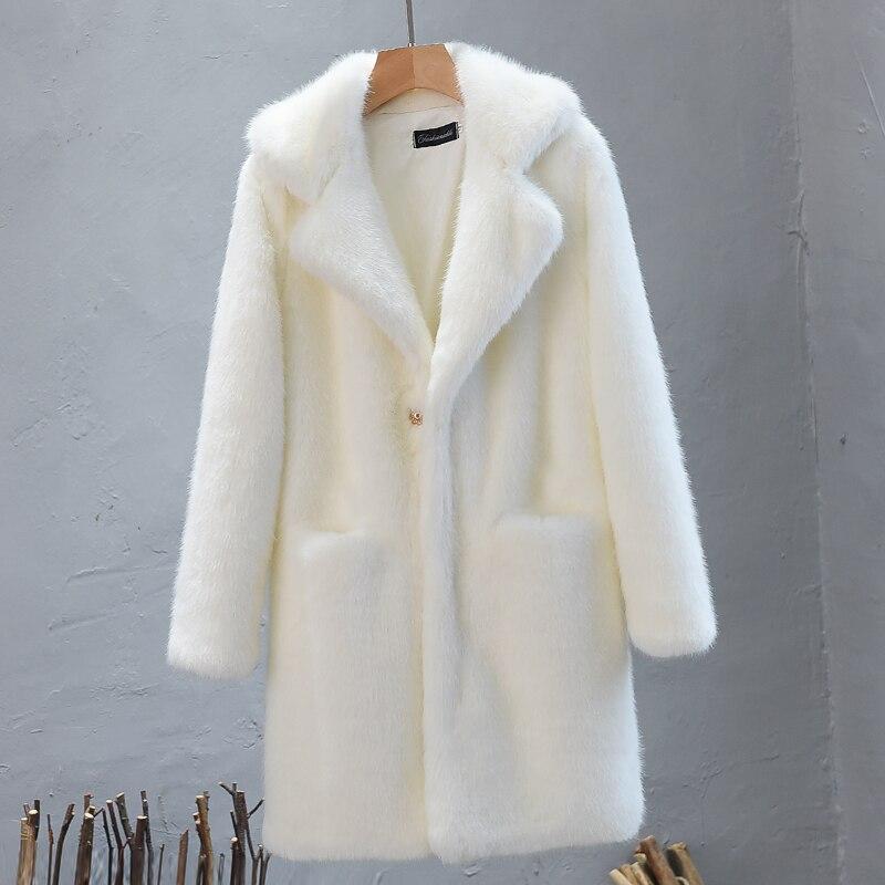 Couleur Veste Solide Fourrure vent 2018 Longues Laine Femme De Vison Manteaux Gris blanc Dames En Poches Coupe Manches Hiver rose Fausse Manteau Automne Awq8xZz