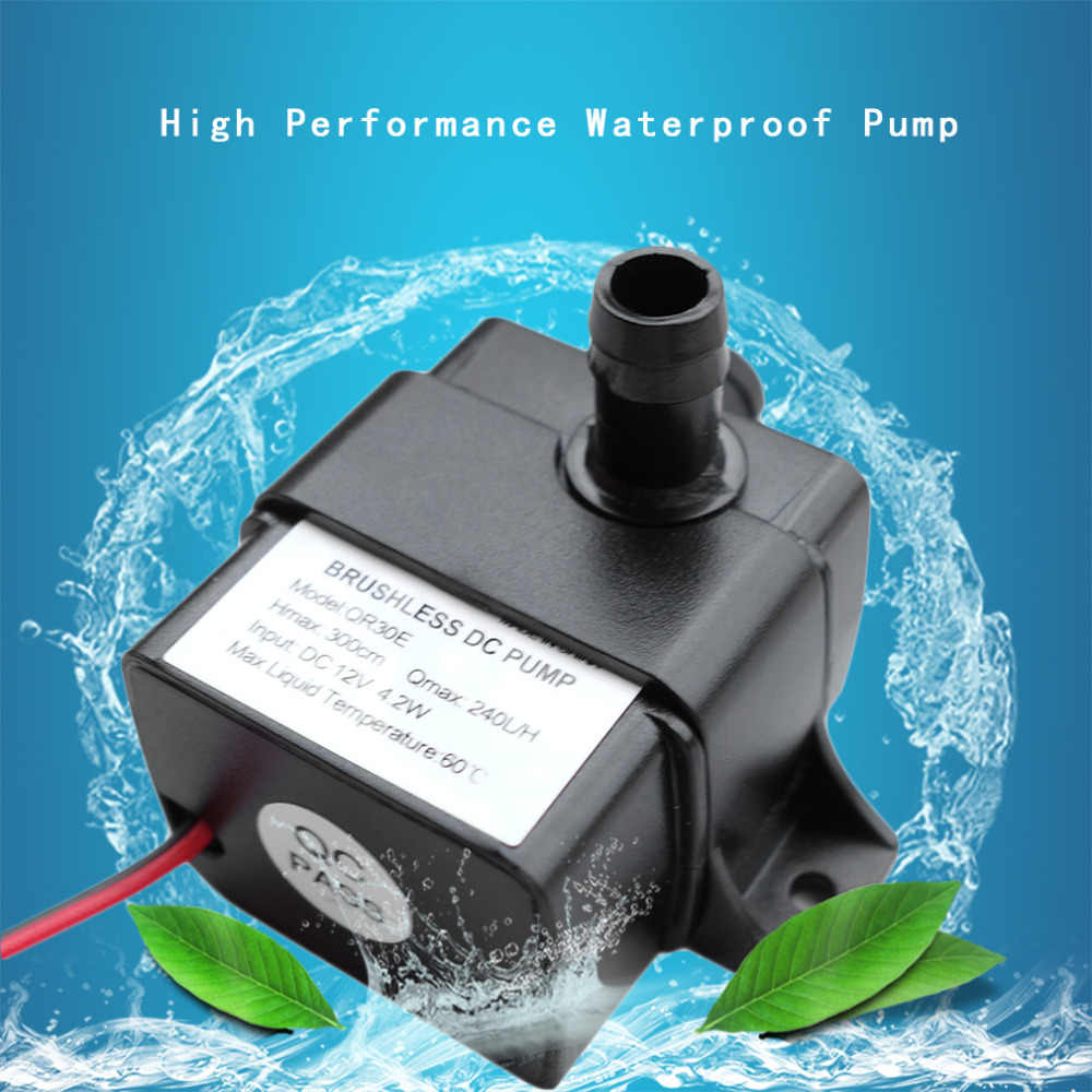 Bomba de água 12 v Ultra-quiet4.2W 240l/h caudal à prova dbrushágua sem escova mini bomba de água submersível qr30e 2017 brandnew
